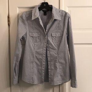 WHBM blue pinstriped blouse
